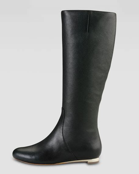 cole haan astoria air flat leather boot black gold