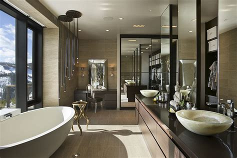 designer master bathrooms private luxury ski resort in montana by len cotsovolos