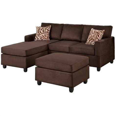 chocolate brown sectional sofa with poundex bobkona manhattan reversible microfiber 3 piece