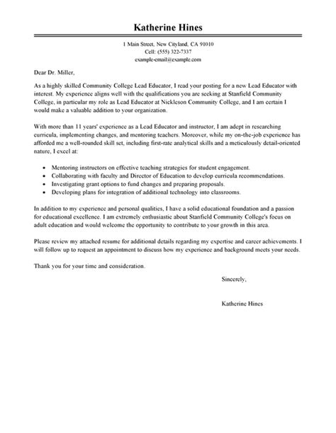 Lead Architect Cover Letter by Best Lead Educator Cover Letter Exles Livecareer
