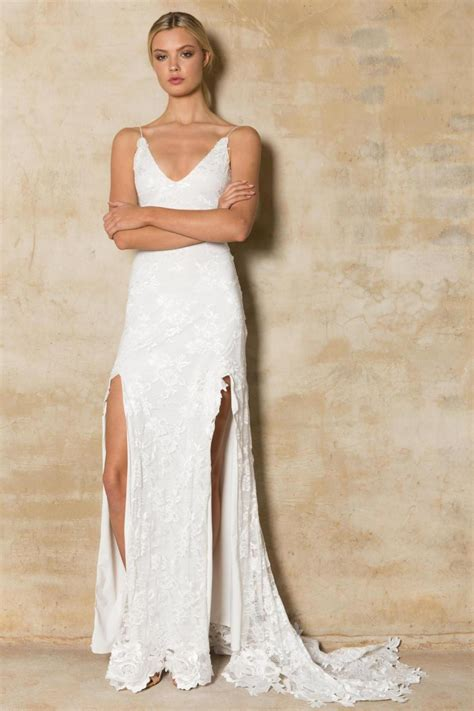 wedding dresses with thigh high slits 2016 new thigh high slits wedding dresses open back