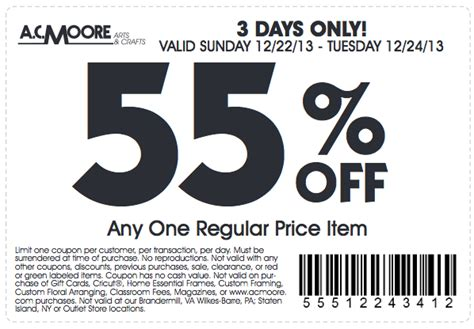 Ac Moore Gift Card Balance - 55 off 50 off ac moore printable coupons newspaper