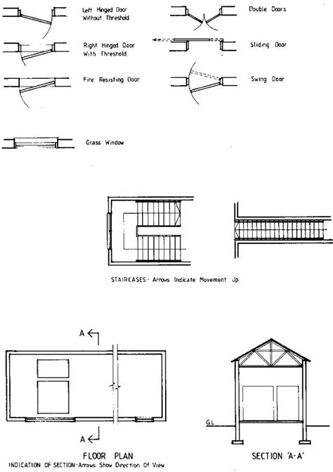 architectural floor plan symbols door drawing plan such as glass and frame type screening