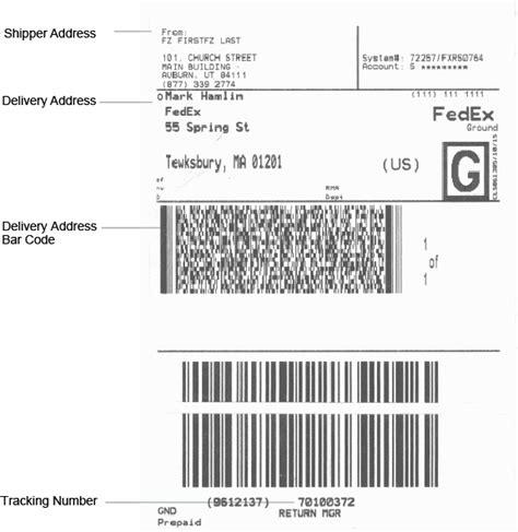return label templates fedex return shipping label