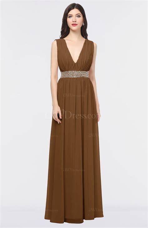 Plain V Neck A Line Dress brown plain a line v neck sleeveless floor length