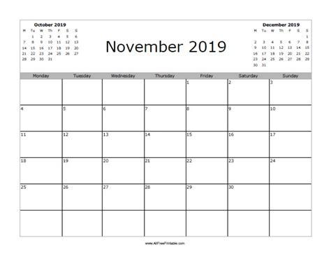 Calendar 2019 November November 2019 Calendar Free Printable Allfreeprintable