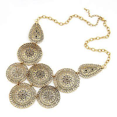Kalung Korea Choker Pendant Decorated Hollw Out Weaving timeless bronze hollow out flower asujewelry