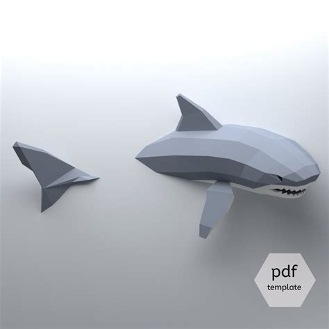 Papercraft Shark - low poly shark model create your own 3d papercraft shark