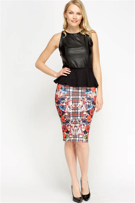 tartan mixed print midi skirt multi just 163 5