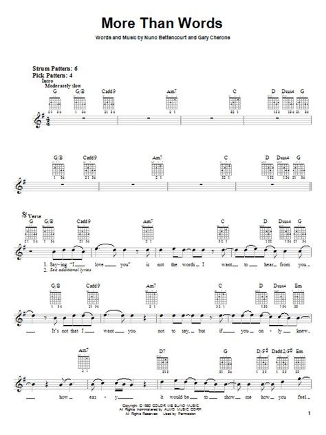 Tutorial Guitar More Than Words | more than words sheet music by extreme guitar with