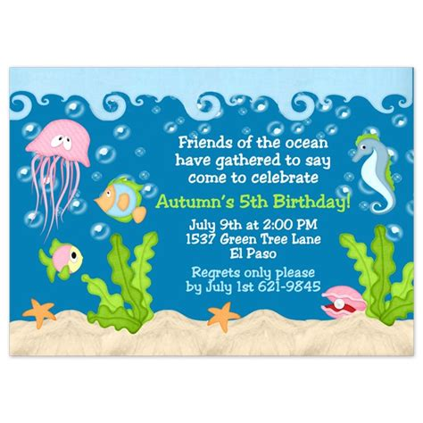 Sea Invitation Template the sea birthday invitations wording drevio