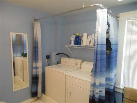 utility room curtains white blue laundry room curtains with custom stainless