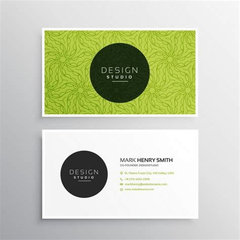 Color Business Card Template by Business Card Template In Green Color Vector Free