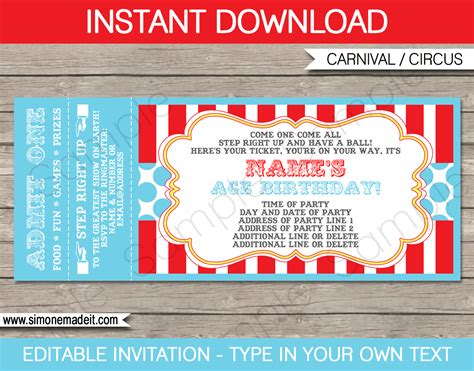 Circus Party Ticket Invitation Template Carnival Or Circus Party Concert Invitation Template Free