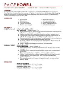 Behavioral Specialist Cover Letter by Behavior Specialist Resume Exles Social Services Resume Sles Livecareer