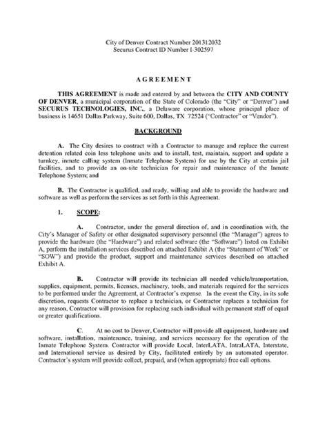 Denver Colorado Warrant Search Co Denver County Contract With Securus 2013 2018 Prison