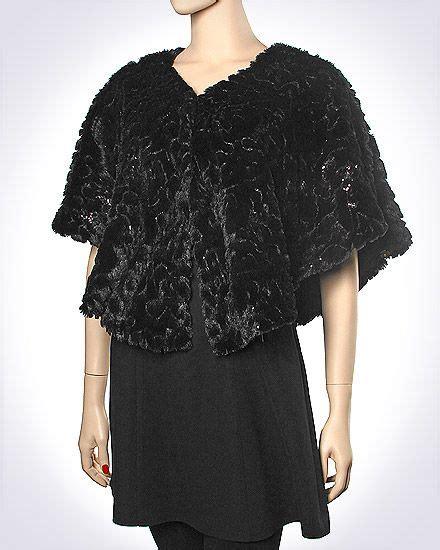 Pashmina Anabella Shawl faux fur button bolero cape wrap shrug in black white and