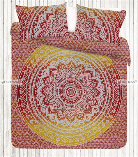 yellow hippie pattern red yellow ombre bedspread hippie floral bedding and