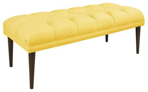 yellow tufted bench made to order yellow tufted bench with cone legs