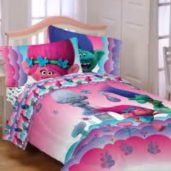 Queen Size Bed Comforter Dreamworks Trolls Reversible Full Comforter Amp Sheets 5