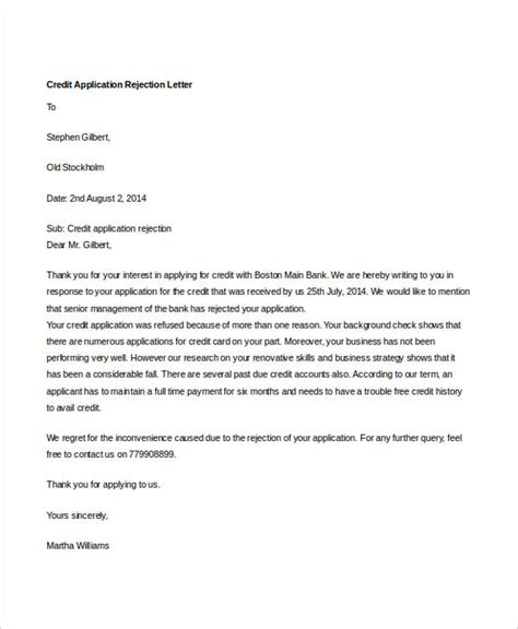 8 credit rejection letter free sle exle format
