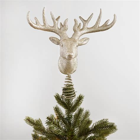 glittered stag head tree topper world market