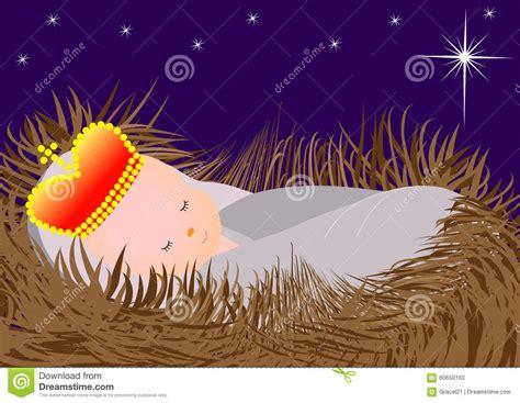 in the manger baby jesus in the manger stock vector image 60650160