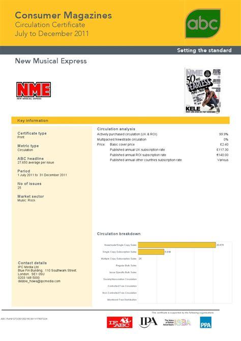 nme circulation figures 2011 audit bureau of circulation