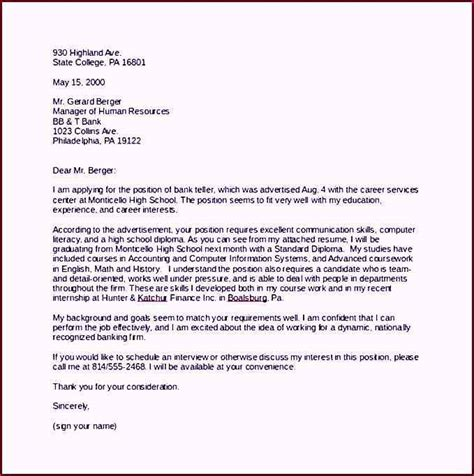 cover letter for a template bank cover letter sle word template free