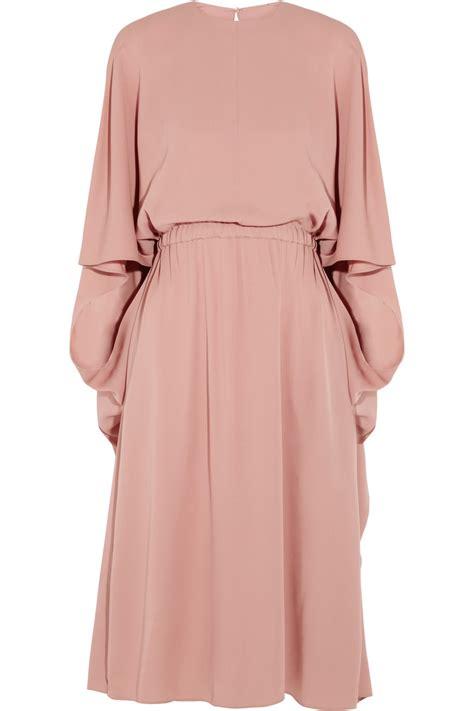 Silk Pink Dress valentino cape back silk dress in pink lyst