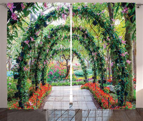 flower arches  path ornament plants garden decor print