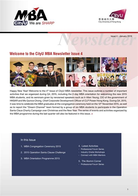 Mba Newsletter brochure newsletter mba cityu