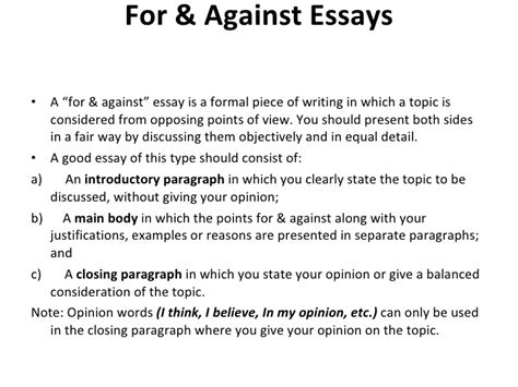 For And Against Essay Vocabulary by For And Against And Opinion Essays