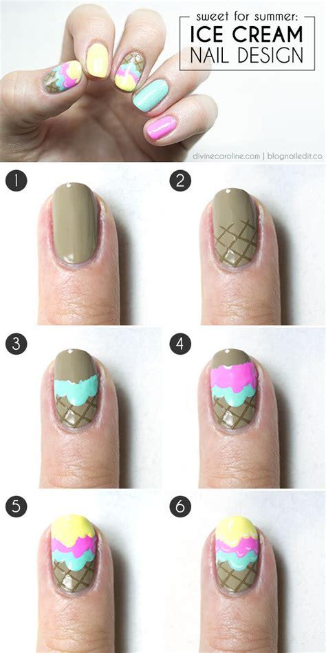Nail Art Ice Cream Tutorial | 25 simple nail art tutorials for beginners