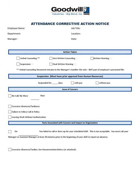 attendance corrective action template  goodwill