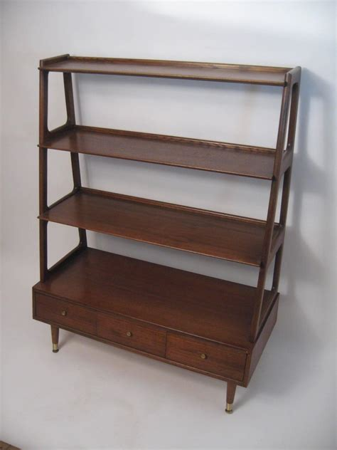 mid century modern graduated walnut and oak shelving unit