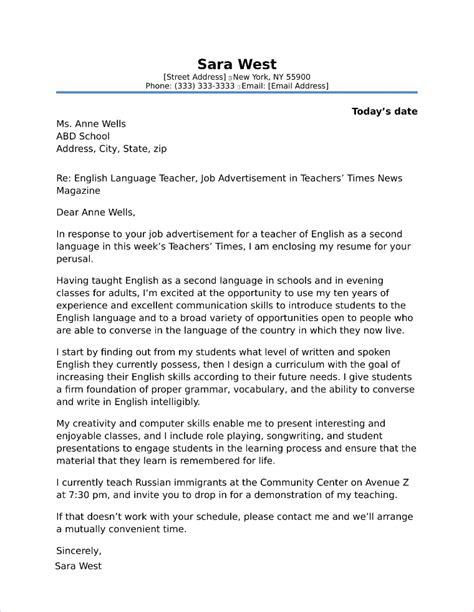 high school teacher cover letter sle