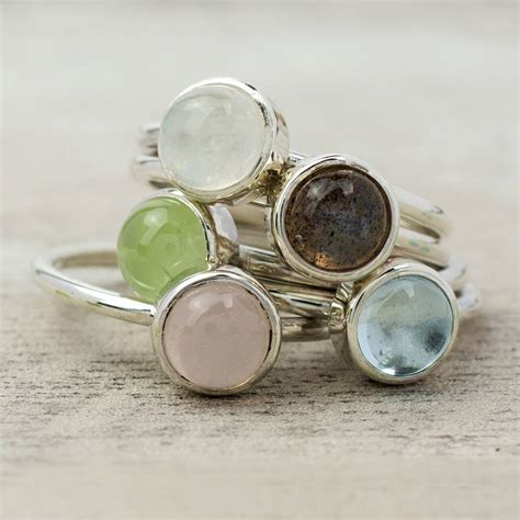 pastel sterling silver gemstone stacking ring by alison