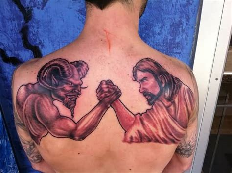god vs devil tattoo designs vs on complete back