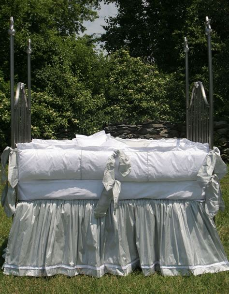 Silk Crib Sheet by Lulla Smith Baby Bedding Manhattan Linen Set Dupioni Silk