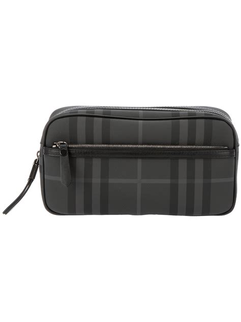 burberry brit checked wash bag in gray for lyst
