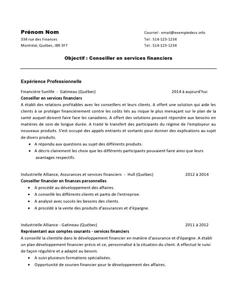 Format For Resume For Job by Cv D Un Conseiller En Services Financiers Exemple De Cv