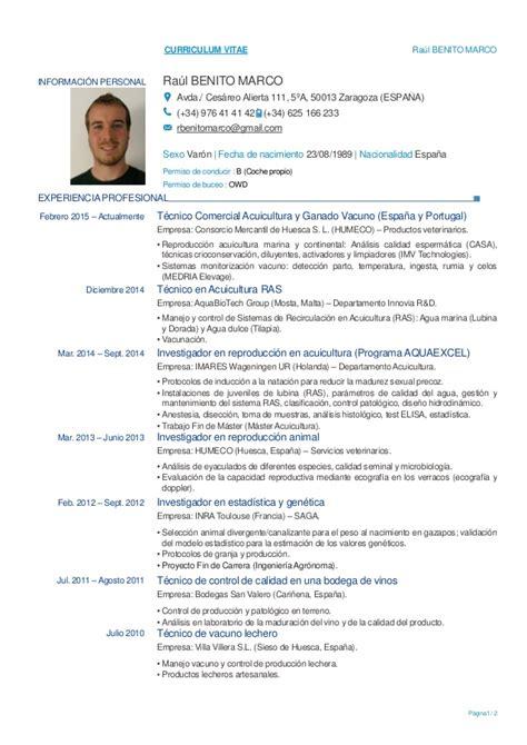Modelo Curriculum Vitae Ingeniero Agronomo Cv Raul Benito Marco Espa 241 Ol