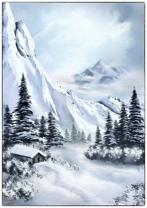 bob ross painting fog winter landscape by pg artwork on deviantart
