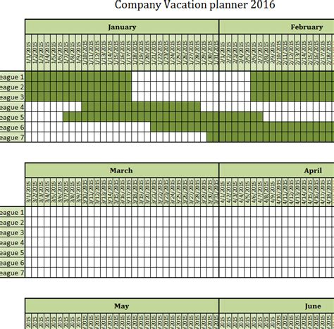 excel vacation calendar template company vacation planner my excel templates