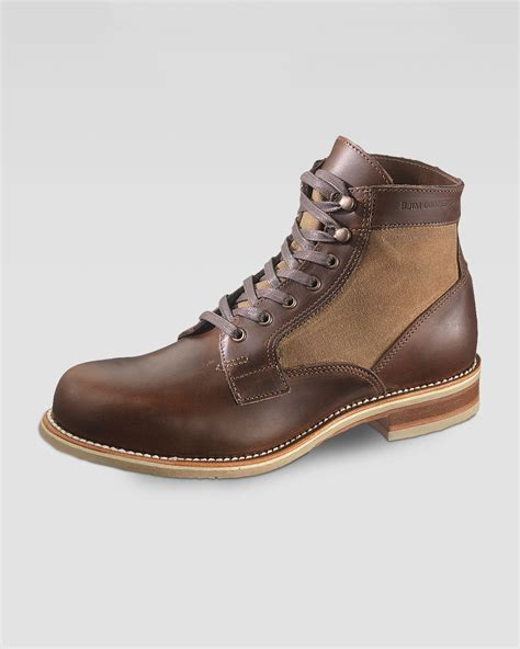 wolverine whitepine 1000 mile leather canvas boot in brown
