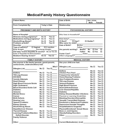 health questionnaire form template 59 health history questionnaire templates family