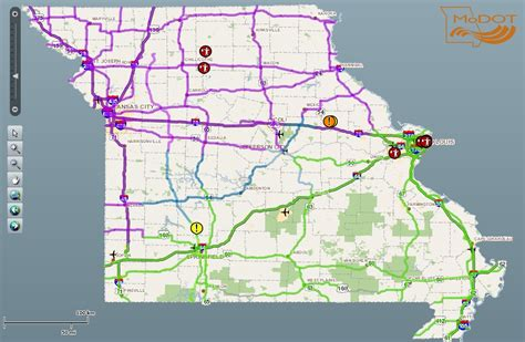 modot traveler map leaves glaze of in much of and central missouri