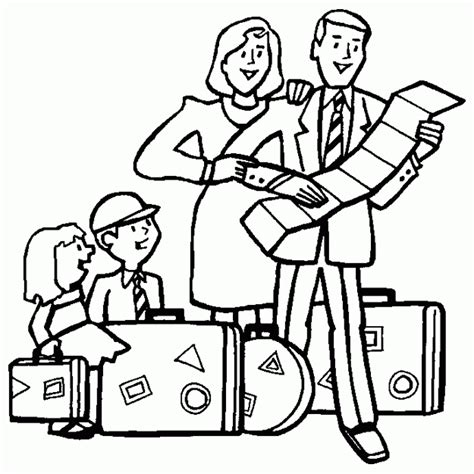 people and places coloring pages family on vacation