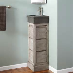 bathroom vanity corner 12 quot carina teak corner vanity with river stone sink gray